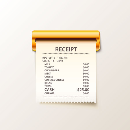 Print receipt cash illustration. Çizim