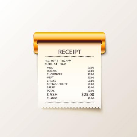 Print receipt cash illustration. Illustration