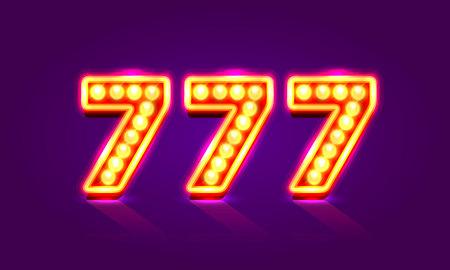 Casino 777 neon signboard. Vektorové ilustrace