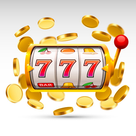 Golden slot machine wins the jackpot.