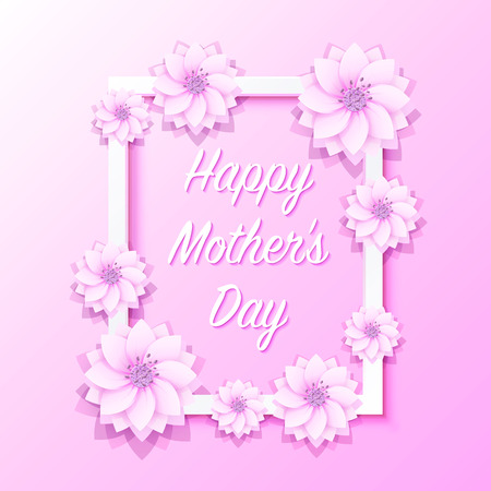 Happy mother day frame flower signboard. Illustration