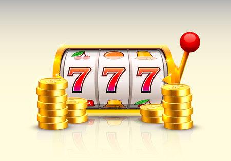 Gouden gokautomaat wint de jackpot. Stock Illustratie