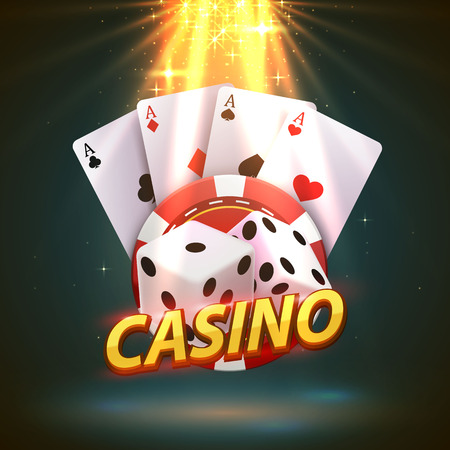 Casino dice banner signboard.