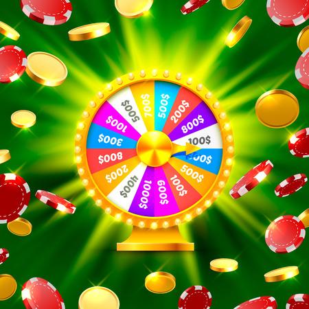 Kleurrijk fortuinwiel wint de jackpot. Vector Illustratie