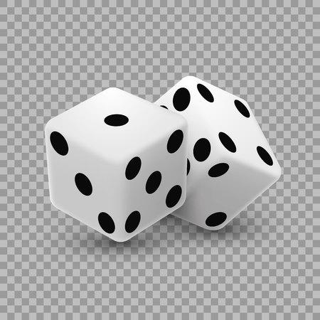 Casino dice on a transparent illustration.
