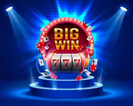 Gran ganan las ranuras 777 casino de la bandera. Foto de archivo - 85929880
