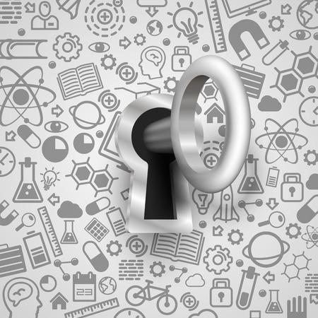 Key 3d lock protection technology many icons. Vektoros illusztráció