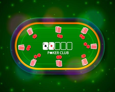 Poker tafel met de kaarten en chips op een groene illustratie.
