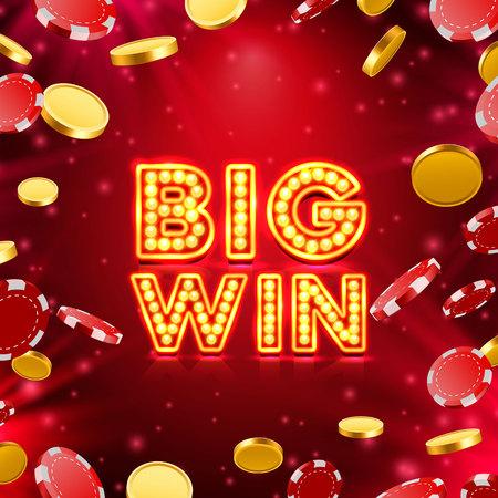 Big win casino signboard, game banner design Vector illustration
