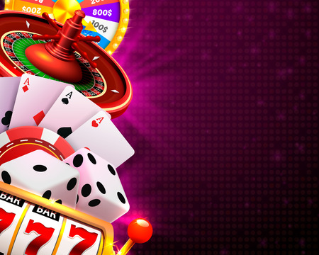 Casino dice banner signboard on background. Vector illustration