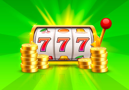 Golden slot machine wins the jackpot. Piles of gold coins . Vector illustration isolated on green background Stock Photo