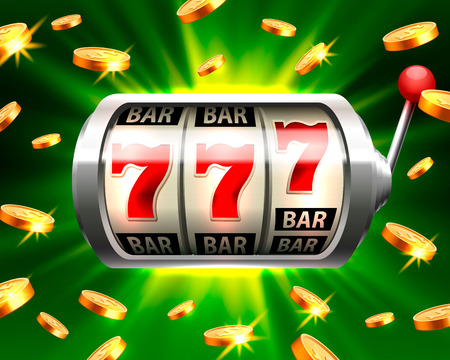 Silver slot machine wins the jackpot. Isolated on green background. Vector illustration