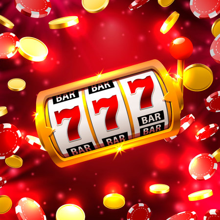 Big win slots 777 banner casino on the red background. Vector illustration Stock Photo
