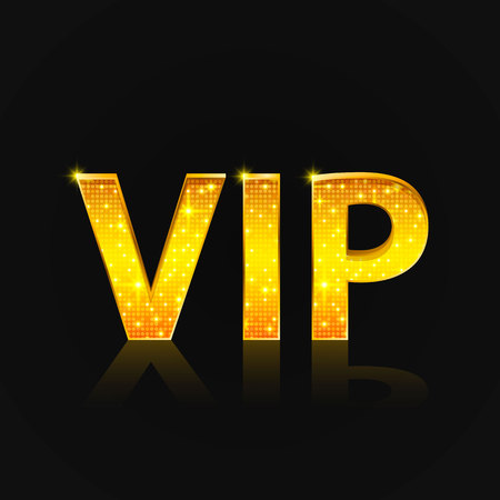 Vip text on the black background. Vector illustration