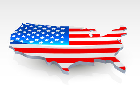 details: USA 3d flag in form of map. United States of America. National flag concept. Vector illustration.