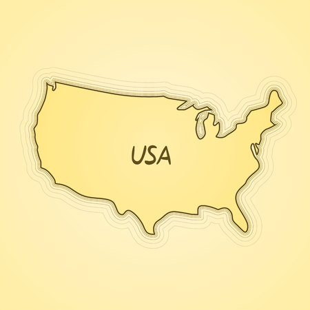 details: USA flag in form of map. United States of America. Retro paper vintage. Vector illustration.