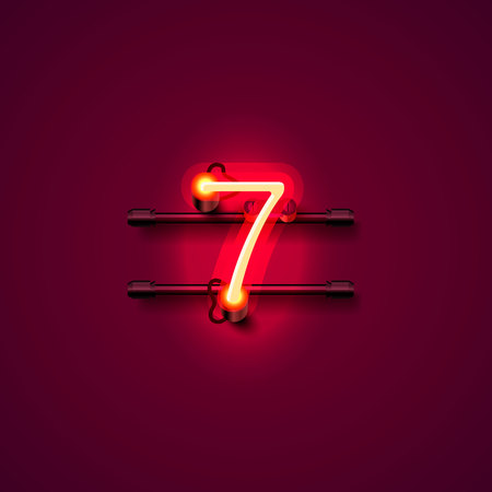 numbers abstract: Neon city font sign number 7, signboard seven. Vector illustration Illustration