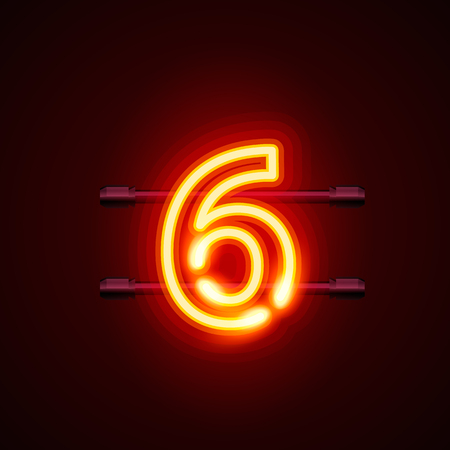 numbers abstract: Neon city font sign number 6, signboard six. Vector illustration
