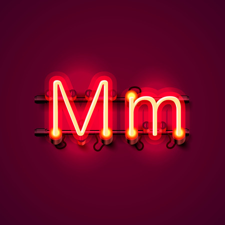 Neon font letter m, art design singboard. Vector illustration Stock Illustration - 85930086