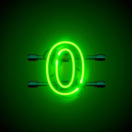 ネオン街フォント記号番号 0、ゼロの看板。ベクトル図
