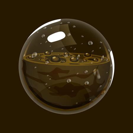 Sfera di fango. Icona del gioco del globo magico. Interfaccia per giochi rpg o match3. Terra o fango. Grande variante Archivio Fotografico - 86053572