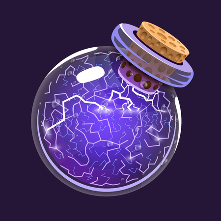 toxic substance: Bottle of Electricity. Game icon of magic elixir. Interface for rpg or match3 game. Energy, lightning, electric. Big variant.