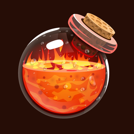mana: Bottle of fire. Game icon of magic elixir. Interface for rpg or match3 game. Fire, energy, lava, flame