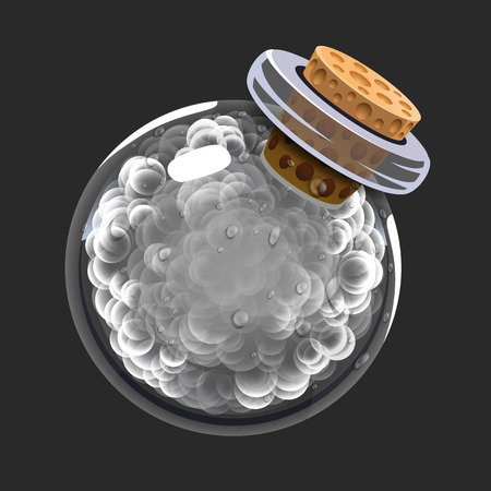 Bottle of smoke. Game icon of magic elixir. Interface for rpg or match3 game. Smoke or clouds. Big variant.