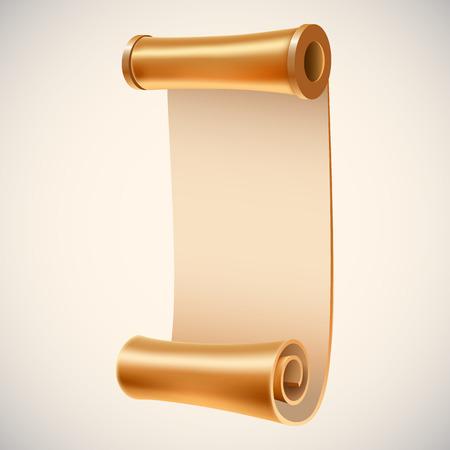 Old golden manuscript. Ancient empty scroll.