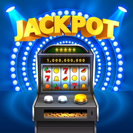Golden slot machine winning the jackpot Vector illustration Иллюстрация
