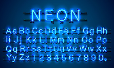 Neon city color blue font, English alphabet and numbers sign Vector illustration