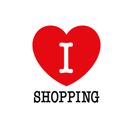 I love shopping, font type with heart sign. Vector illustration Stok Fotoğraf