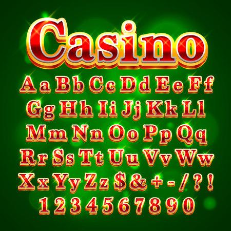 Casino golden english alphabet font on the green background. Vector illustration Stok Fotoğraf