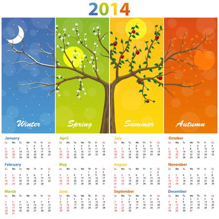 calendar design: Calendar for 2014 seasons. Illustration art 10eps
