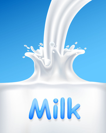 Pour milk into a container, vertical cover banner . Vector illustration Stock Photo