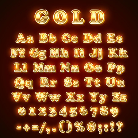 Golden English alphabet on khaki background. Vector illustration