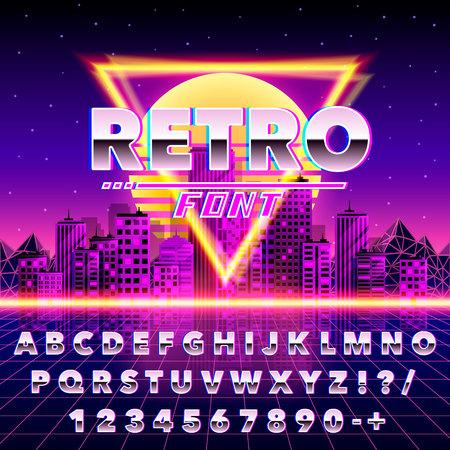 Retro font vintage on the neon city background. Vector illustration Standard-Bild