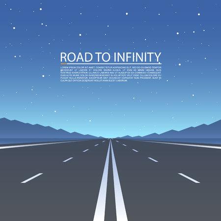 無限への道、道路ベクトルハイウェイ、ベクトルイラスト、道路上空の背景。