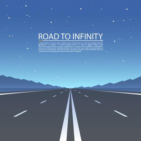 インフィニティ、高速道路道路ベクトル、ベクトル図、道路上空の背景への道。
