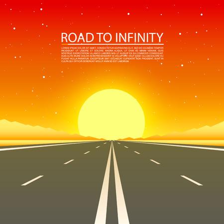 無限砂漠、ベクトル図、道路の背景に道路への道。