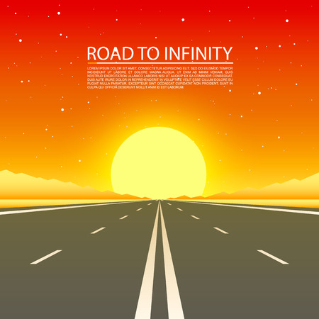 Road to infinity highway, Road in the desert, Vector illustration, Road background.