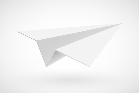 White paper plane isolated on white. Vector illustration