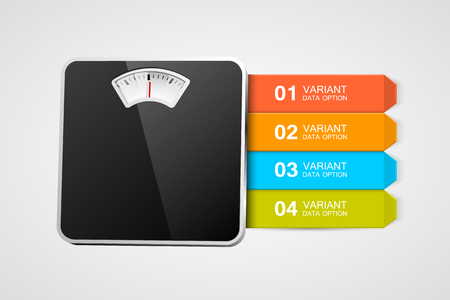 bathroom scale: Bathroom scale with infographics or steps. Steps to healthy life. Vector illustration