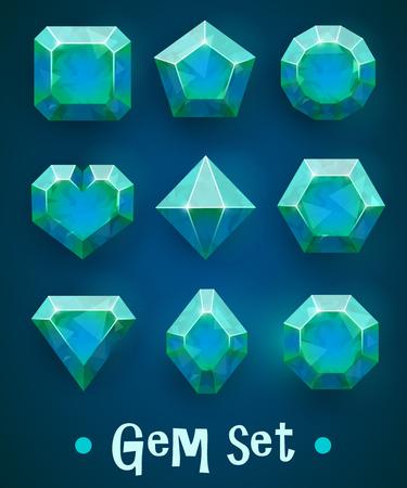 Set of realistic blue gems of various shapes Illustration