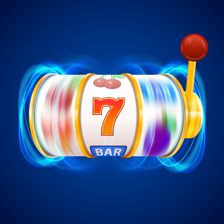 Golden slot machine wins the jackpot. Vector illustration