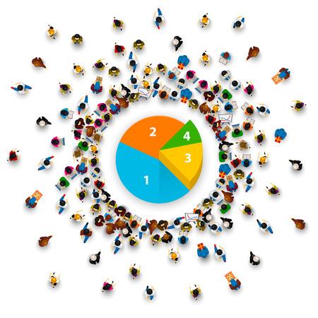 La gente rodea el gráfico circular. Ilustración vectorial