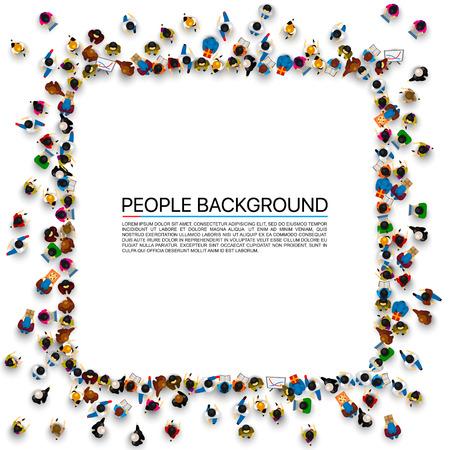 Een groep mensen in een vorm van frame banner, geïsoleerd op een witte achtergrond. Vector illustratie Stockfoto - 86312100