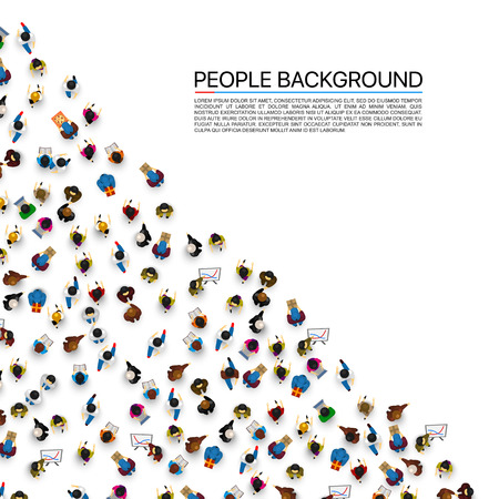 Big angle people crowd on white background. Vector illustration.