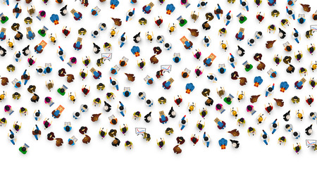 Big people crowd on white background. Vector illustration. Imagens