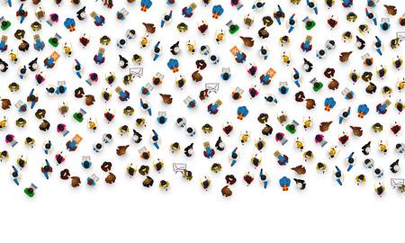 Grandes personas se aglomeran en el fondo blanco. Ilustración del vector. Foto de archivo - 86446296